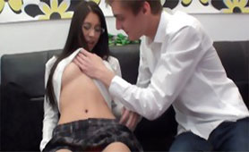Nerdy Schoolgirl First Time Felt Male Hand on her Virgin Boobs