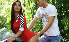 Amazing Redhead Babe Fucking with Motorcyclist on the Racetrack in the Woods