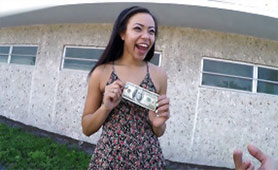 A Happy Girl has Earned her First Money on her Knees
